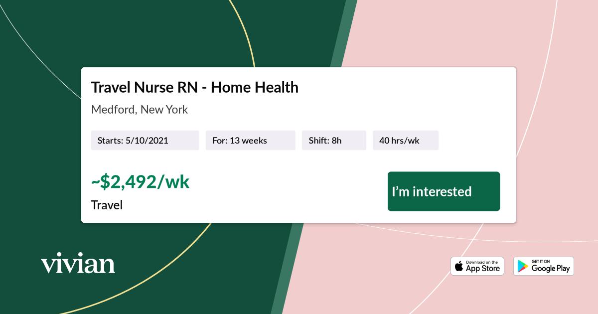 Travel Nurse RN - Home Health in Medford, New York ...